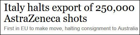 """欧盟国家首次干预新冠疫苗出口,澳大利亚""""中枪"""""""
