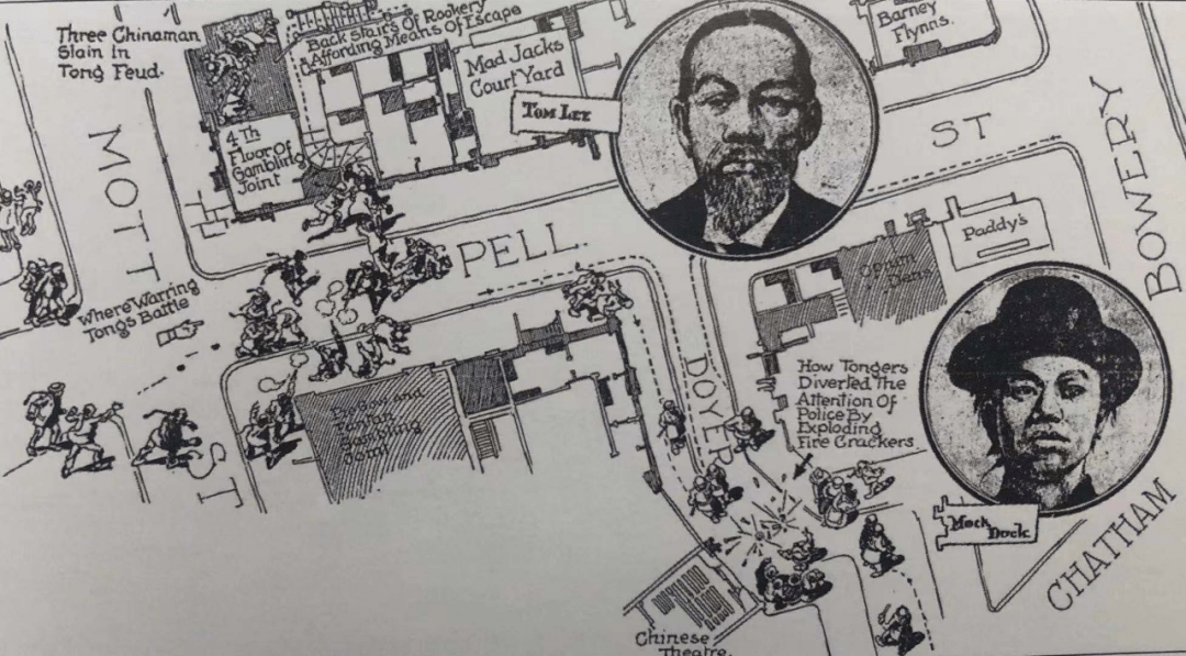 当年《纽约世界报》绘制的华人黑帮交战示意图