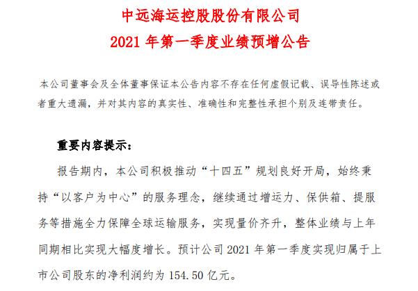 刚刚,1800亿航运龙头公告,一季度预盈154.5亿元,同比暴增5200%
