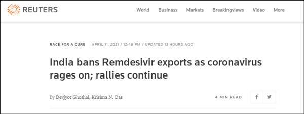 新冠病例创纪录飙升,印度禁止出口瑞德西韦