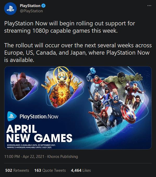 PS Now服务将支持部分游戏在1080P下云游玩