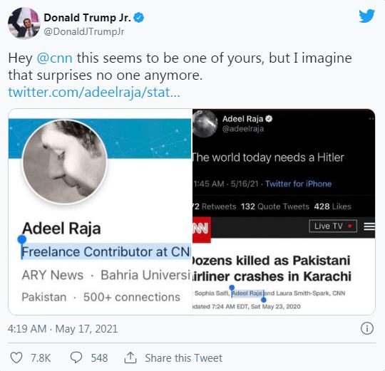 """""""当今世界需要一个希特勒"""",CNN撰稿人一条推文,激怒很多人 (图9)"""