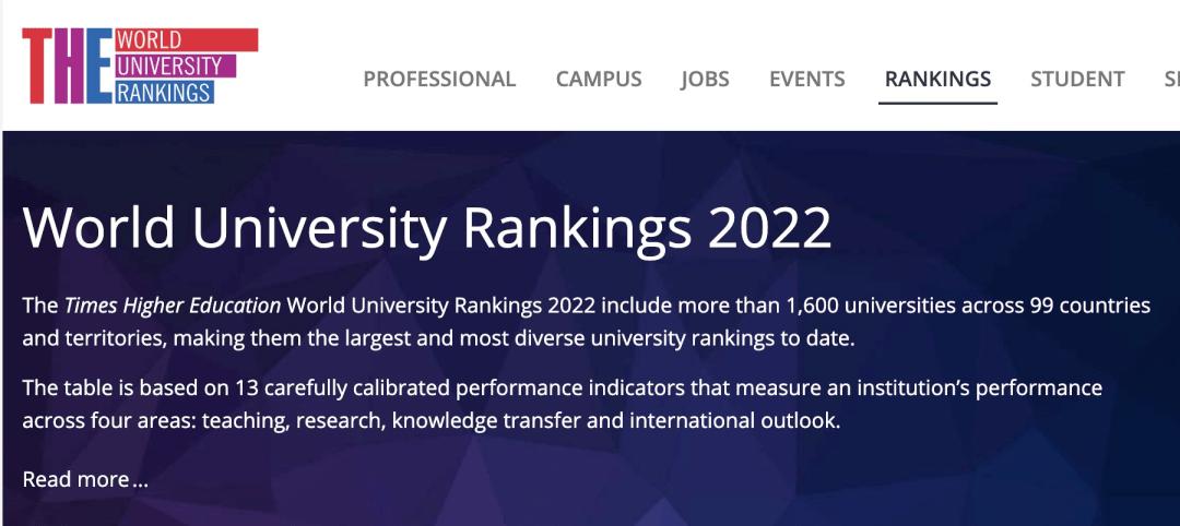 2022泰晤士THE世界大学排名发布!美国大学再次霸屏!