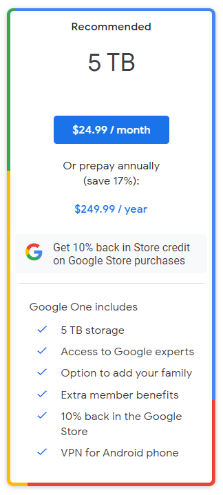 谷歌推出 5TB 网盘订百度搜微信网页版阅服务:每月约合 161 元每年 1610 元-奇享网